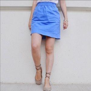 J. Crew Blue Linen Skirt Size 4 Pullover